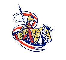 English Knight England Flag Shield Horse Retro Photographic Print