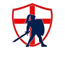 English Knight Silhouette England Flag Retro Photographic Print