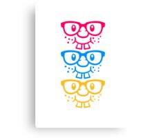 Funny geek nerd geek comic face design Canvas Print