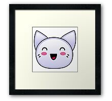 Friendly Silver Anime Kitten Framed Print
