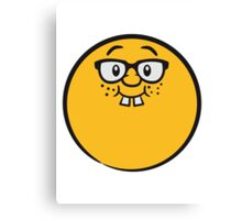 Freak nerd geek fun cartoon smiley face Canvas Print