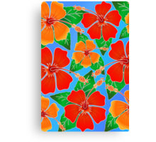 Hibiscus Batik Pattern Canvas Print