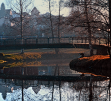 A bridge, the river and reflections | waterscape photography Sticker