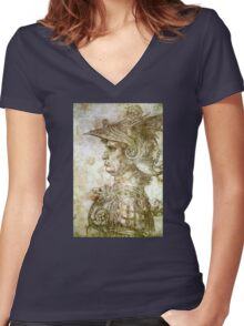 Leonardo da Vinci Man in Armour Women's Fitted V-Neck T-Shirt