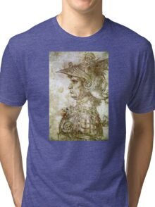 Leonardo da Vinci Man in Armour Tri-blend T-Shirt
