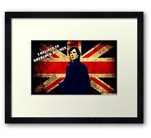 SherlockBelieveUnionJack Framed Print