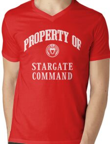 Property of Stargate Command Athletic Wear White ink Mens V-Neck T-Shirt