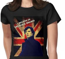 SherlockBelieveUnionJack Womens Fitted T-Shirt