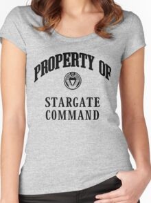Property of Stargate Command Athletic Wear Black ink Women's Fitted Scoop T-Shirt
