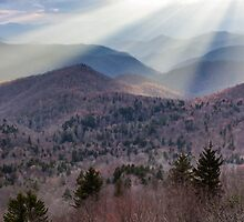Southern Appalachian Blue Ridge Mountain Sunshine Light Beams by MarkVanDyke