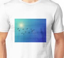 Flock of birds in a sunny sky Unisex T-Shirt