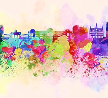 Brussels skyline in watercolor background by paulrommer