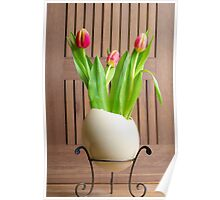 Tulips and easter egg Poster