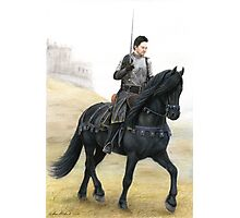 Joining the Warband - Knight on Friesian Horse Photographic Print