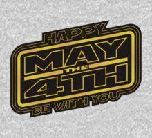 Happy May the 4th! (Yellow-Slanted) Kids Tee
