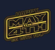 Happy May the 4th! (Yellow-Slanted) Kids Tee