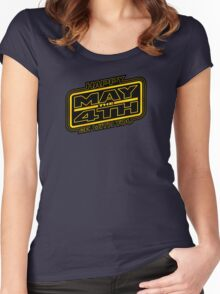 Happy May the 4th! (Yellow-Slanted) Women's Fitted Scoop T-Shirt