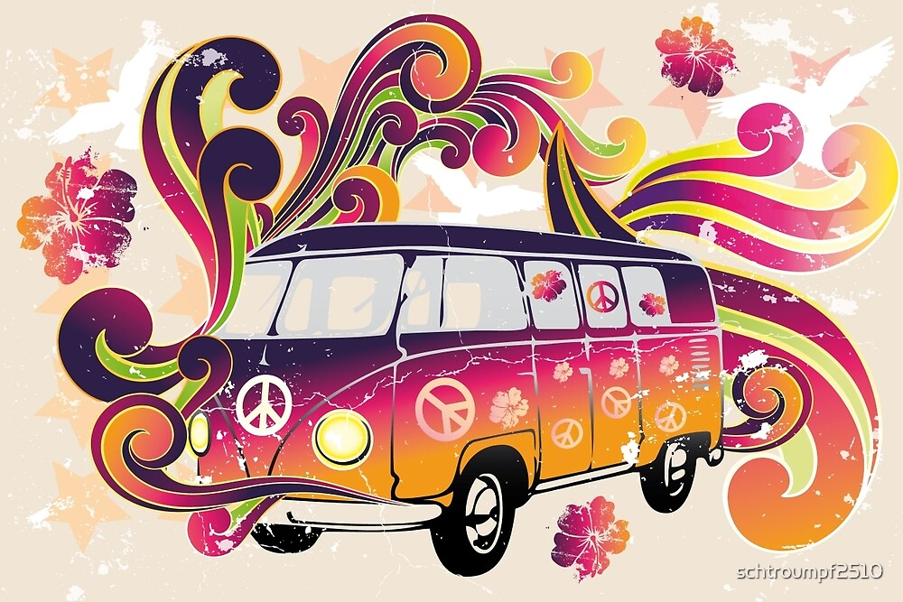 Retro van with powerful colors and swirls by schtroumpf2510