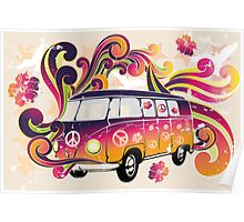 Retro van with powerful colors and swirls Poster