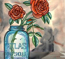 roses in a mason jar by resonanteye