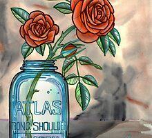 roses in a mason jar by resonanteye