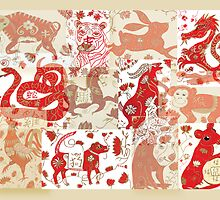 Chinese Astrology Animals Collage by SunfluerDesigns