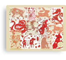 Chinese Astrology Animals Collage Canvas Print