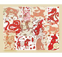 Chinese Astrology Animals Collage Photographic Print