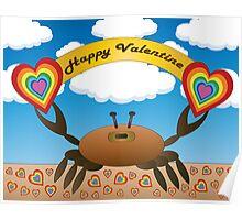 Happy Valentine Crab  Poster