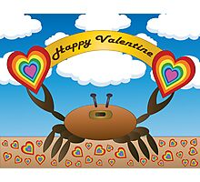 Happy Valentine Crab  Photographic Print