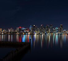 San Diego Skyline at Night by liminalstate