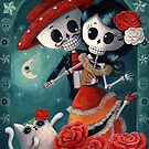 Dia de Los Muertos Couple of Skeleton Lovers by colonelle
