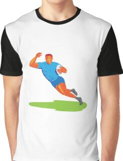 Rugby Player Running Ball WPA Graphic T-Shirt