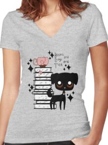 Books and Dogs and Tea Women's Fitted V-Neck T-Shirt