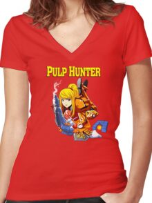 Pulp Hunter Women's Fitted V-Neck T-Shirt