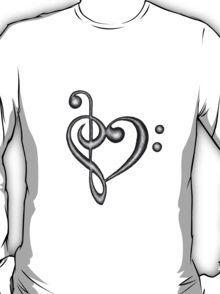Hand Drawn Treble & Bass Clef Music Note Heart Symbol T-Shirt