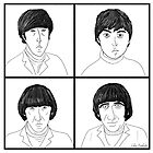 The Beatles - Line Art Portraits in Black and White by ibadishi