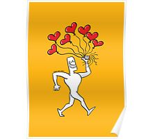 Man Walking with Heart Balloons Poster