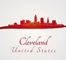 Cleveland skyline in red by Pablo Romero