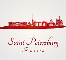 Saint Petersburg skyline in red by paulrommer