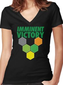 IMMINENT VICTORY with hexagons Women's Fitted V-Neck T-Shirt