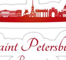 Saint Petersburg skyline in red Sticker