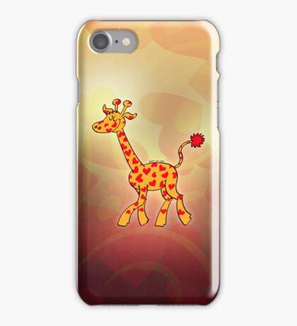 Red Heart Spotted Giraffe iPhone Case/Skin