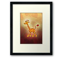 Red Heart Spotted Giraffe Framed Print