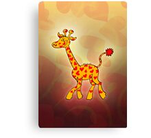 Red Heart Spotted Giraffe Canvas Print