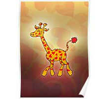 Red Heart Spotted Giraffe Poster