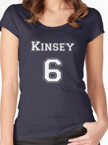 Kinsey6 - White Lettering Women's Fitted Scoop T-Shirt