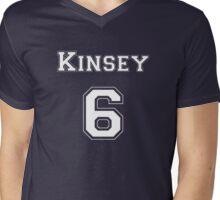 Kinsey6 - White Lettering Mens V-Neck T-Shirt