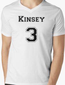 Kinsey3 - Black Lettering Mens V-Neck T-Shirt