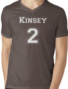 Kinsey2 - White Lettering Mens V-Neck T-Shirt
